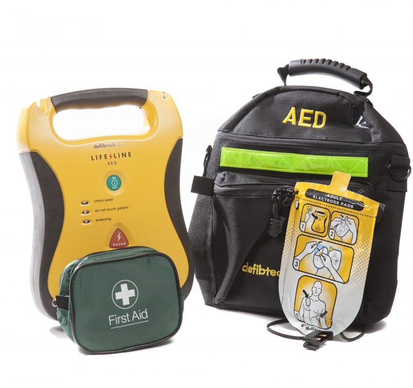 DefibTech Lifeline AED with bag, pads and rescue kit