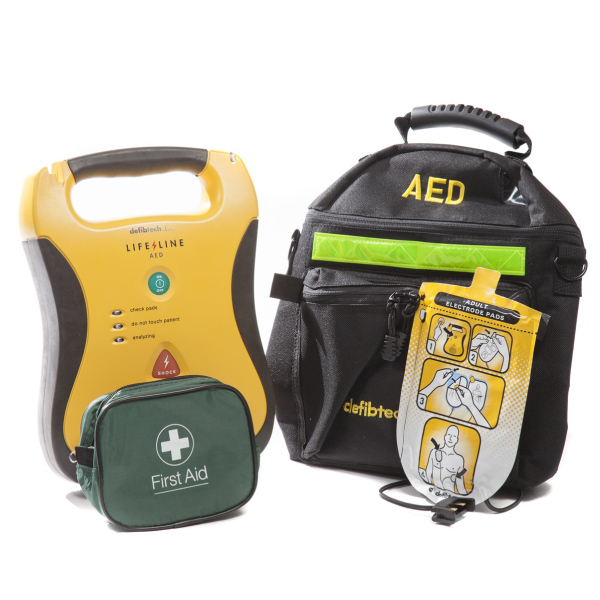 Defibtech Lifeline Automated External Defibrillator, Soft Carry Case, AED Prep Kit and Adult Electrode Pads